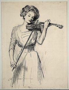 """Charles Dana Gibson, """"The Sweetest Story Ever Told"""", ca. 1910  Ink over graphite on illustration board  the original """"Gibson Girl"""""""