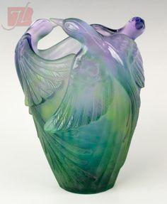 Daum Bird Of Paradise vase Signed Daum France.