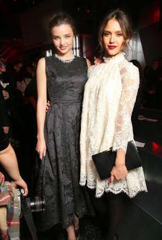 Miranda Kerr and Jessica Alba at H&M show.