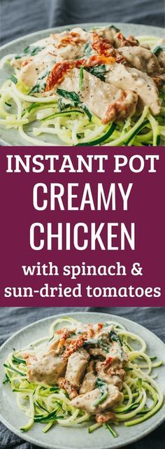 This is one of my favorite simple Instant Pot chicken recipes! It has a rich and creamy sauce made with parmesan cheese and cream cheese, and mixed with sun-dried tomatoes and spinach. The chicken is seasoned with Italian spices, garlic, and olive oil. You can serve this chicken dinner over zucchini spaghetti noodles or anything else. It's healthy, low carb, keto friendly, gluten free, and super easy to make in any electric pressure cooker. #chicken #instantpot #keto #lowcarb via…