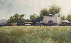 Watercolor painting by Daniel Marshall artist Watercolor Barns, Watercolor Architecture, Watercolor Landscape, Floral Watercolor, Watercolor Painting Techniques, Watercolor Artists, Watercolour Painting, Watercolors, Art Boards