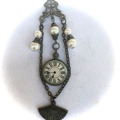 Victorian Chatelaine Inspired Steampunk Watch Pearl Fan Leather Necklace, Mother's Day Gift, Victorian Wedding Steampunk Watch, Victorian Steampunk, Steampunk Fashion, Or Antique, Antique Jewelry, Vintage Jewelry, Jewelry Shop, Handmade Jewelry, Fashion Jewelry
