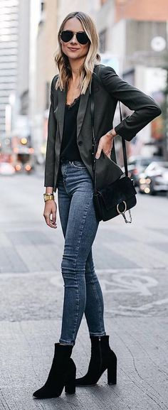trendy outfit idea : blazer + black top + skinnies + bag + boots #omgoutfitideas #style #women