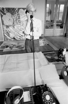 Available for sale from Maison Gerard, Robert Levin, Andy Warhol on the Phone at Factory, NYC 1981 Original print made with archival ink on acid fr… Original Prints, Great Artists, Artist, Andy Warhol, Black And White Photographs, Artsy, Black And White, Pop Artist, Pop Art