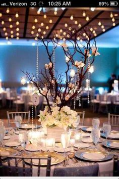 Beautiful branch and flower centrepiece