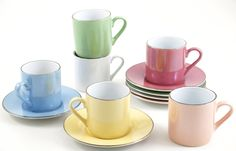 Amazon.com: 6 Piece Espresso Cup and Saucer Set with Chrome Stand Coffee: Kitchen & Dining