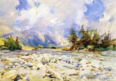 John Singer Sargent (1856 — 1925, USA) Bed of the Dora, Purtud. c. 1907 watercolor. 36.8 x 53 cm. (14.49 x 20.87 in.)