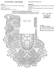 Diy Crafts - Crochet and arts: crochet for bathroom Filet Crochet, Mandala Au Crochet, Crochet Doily Diagram, Crochet Yoke, Crochet Collar, Crochet Borders, Crochet Stitches Patterns, Thread Crochet, Crochet Designs
