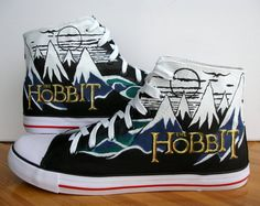 We all want to proclaim our love of all things Tolkien, but sometimes walking around barefoot like a hobbit just isn't practical. Luckily, Etsy shop BeressyArt designed these beautiful canvas shoes based on the cover of The Hobbit.