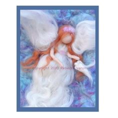 Printed Note Card - Ascension of Soul Mates-image from wool painting - angel and dove