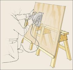 I wonder if I need this for cutting the wood for the kitchen floor. Modified sawhorses for cutting plywood and other sheet goods. Also supports a backer board for catching overspray from paint.