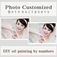 Customized Picture Painting By Numbers Modern Photo Diy Oil Cancas Art Coloring By Numbers Wedding Family Child Photo Post 2017(China)