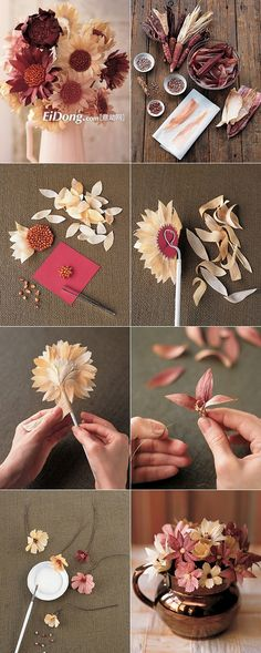 cornhusk flower, flower tutorial