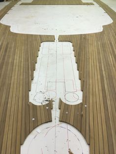 Teak decking for 90 ft yacht on our layout floor