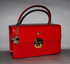 Auth Versace Red Leather Vanity Cosmetics Handbag and Purse Charm~MyPoupette RS