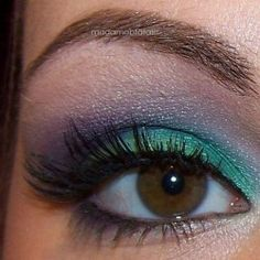 Aqua and Purple eye makeup