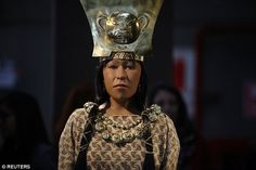 A glimpse of the former Peruvian priestess, the Lady of Cao, can now be seen in a replica of her face (pictured) unveiled by culture officials and archaeologists in Lima, Peru, on Monday