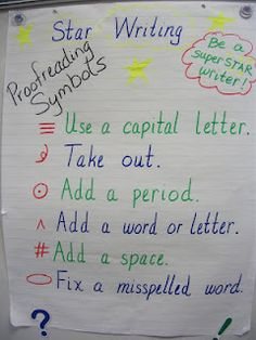 proofreading markers. Students don't need to see a bunch of red lines crossing things out. Rather symbols that can still keep their papers someone neat and tidy.