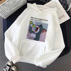 Harajuku Hoodies for Girls Cat Mouse White&pink Hooded Tops Women's Sweatshirt Long-sleeved Winter Tops Women Hoodies Kawaii Stylish Hoodies, Cool Hoodies, Look Fashion, Korean Fashion, Aesthetic Hoodie, Pink Long Sleeve Tops, Cat Mouse, Hoodie Pattern, Winter Tops