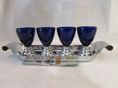 Signed Chase Blue Moon Cocktail Glasses and Tray Art Deco Chrome Glass PREWW2   eBay