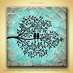 Rustic Bird art textured Aqua artwork Love birds door SKArtzGallerE