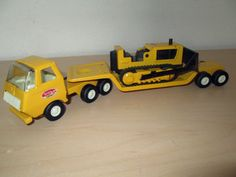 TINY TONKA SEMI TRUCK, LOW BOY TRAILER & BULLDOZER