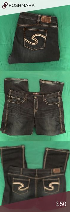"""PLUS SILVER JEANS 👖 """"FRANCES""""  SIZE 22/31 PLUS Silver Jeans 👖 """"FRANCES""""   SIZE 22/ 31. Dark wash with beige & black traditional """"S"""" on back pockets. Measurements---WAIST 22 inches , INSEAM 31 inches RISE 10 1/2 inches. There is a tear on the left leg back hem( pic # 2&6) Other then that perfect condition. Original zipper no stains. Smoke free 🏡. BUNDLE & SAVE 2 items = 20% off!! PLUS for this week. BUY 1 silver Jean get 1 HALF OFF!!!! 2 for the price of one!!!😀👖👚👗 Silver Jeans Jeans…"""