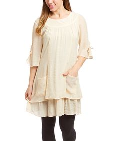 Look what I found on #zulily! SassyBling Beige Ruched Half-Sleeve Tunic by SassyBling #zulilyfinds