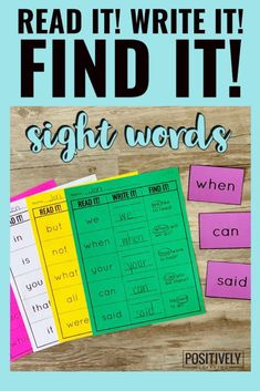 Here's a set of printable activity pages featuring the first 100 Fry sight words.Students will Read It, Write It, and Find It!