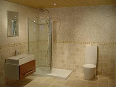 Beautiful Beige Bathroom Ideas To Inspire You : Very Small Bathroom Idea With Corner Shower Area Also Glass Shower Enclosure And Freestanding Vanity Also Beige Ceramic Wall Tiles