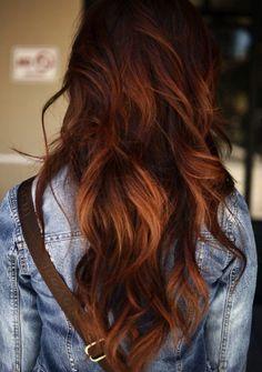 Love the hair color. Auburn ombré