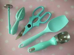 Kitchen Utensils In Aqua