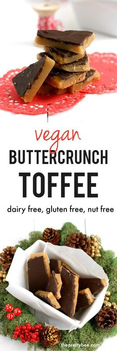 Nut Free Buttercrunch Toffee Impress your friends with this vegan toffee recipe that is chocolatey, buttery, and made fresh in your kitchen!Impress your friends with this vegan toffee recipe that is chocolatey, buttery, and made fresh in your kitchen! Healthy Vegan Dessert, Coconut Dessert, Vegan Dessert Recipes, Vegan Treats, Vegan Foods, Dairy Free Recipes, Paleo Diet, Dessert Bread, Healthy Cookies