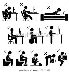 Good and Bad Human Body Posture Stick Figure Pictogram Icon - stock vector