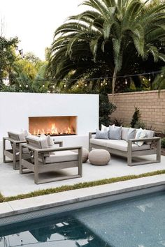 A Mediterranean Inspired Design Have you ever really thought about how many people see the outside of your home? Outdoor Fireplace Designs, Backyard Fireplace, Modern Outdoor Fireplace, Modern Outdoor Living, Outdoor Fireplaces, Outdoor Living Patios, Outdoor Areas, Outdoor Spaces, Outdoor Decor