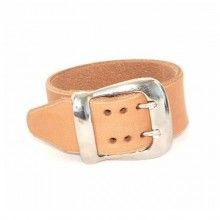 Thick leather bracelet with double prong buckle