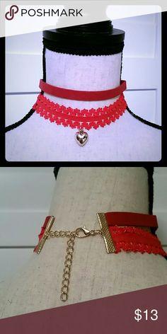Heart Shape Paisley Necklace Choker Super cute heart shape paisley necklace choker. Color: red Jewelry Necklaces