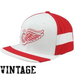 748f8457458 Mitchell  amp  Ness Detroit Red Wings Vintage Team Jersey Adjustable  Snapback Hat - White