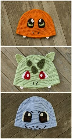 First Generation Starter Pokemon Inspired Crochet Pattern Pack Charmander Bulbasuar Squirtle Pokemon Crochet Pokemon Hat Pokemon Starter by DreamBoatEffects on Etsy