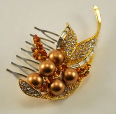 Art Deco, Gold, Amber, Pearl, Rhinestone Vintage Hair Brooch Bridal Hair Comb Wedding Jewel Comb, Wedding Hair Accessories. $43.95, via Etsy.