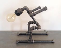 Robot ski table lamp Pipe style Edison Bulb by HandMadeProjects4u
