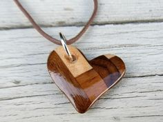 Wood Heart Necklace - Walnut, Cherry and Maple - Womens Jewelry on Etsy, $18.95