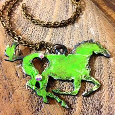 Horse Necklace - Distressed Horse Necklace - Painted Metal Necklace - Swarovski Crystal Horse Necklace - Custom Horse Necklace $14.99