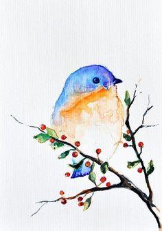 ORIGINAL Watercolor painting Bird in a spring by ArtCornerShop, $40.00