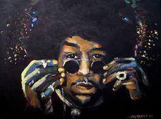 "Jimi Hendrix - ""Jimi"", original acrylic on canvas portrait by Kim Overholt."