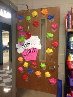 Cupcake door decor | Door decorations | Pinterest