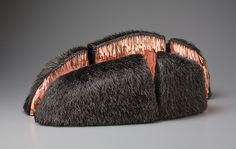 "US artist Mary Giles. ""Cooper Crevice, 2010."" Waxed linen, copper, iron. 11.5"" x 31"" x 15"""