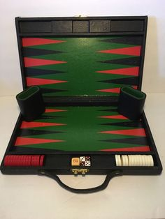 Vintage Backgammon Set, Carrying Case, Red White Pieces, W/ Double Dice
