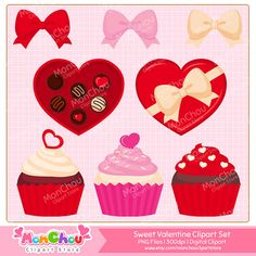 Sweet Valentine Clipart Set - For Commercial and Personal Use Clip Art  This set includes 34 PNG files of Valentine cliparts!  This is a DIGITAL PRODUCT. You will not receive physical product but a digital download ZIP file containing high quality .PNG files. Watermark is not included on the final product.  Each clipart element is saved in a separate .PNG files with transparent background and 300dpi resolution.  This clipart set includes:   A heart clipart in 3 colors An arrowed heart…