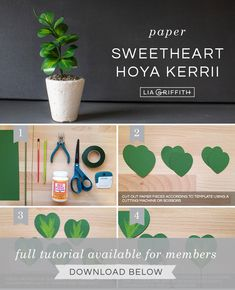 Photo tutorial for paper Hoya Kerrii plant (sweetheart plant) by Lia Griffith Flower Crafts, Diy Flowers, Fabric Flowers, Paper Succulents, Paper Plants, Diy Arts And Crafts, Cute Crafts, Hoya Plants, Plant Crafts